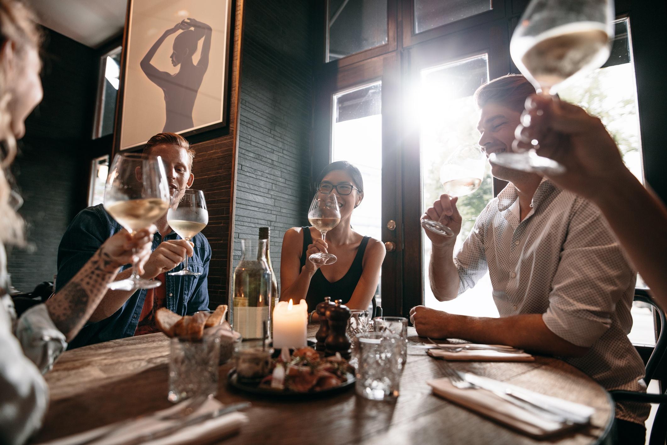 Entrepreneurs in restaurant